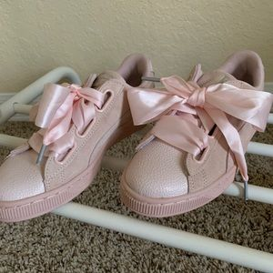 Light pink suede puma shoes